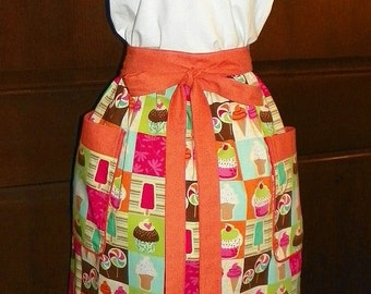 "Gorgeous,Colorful, Ice Cream , Lolipops, and Cupcakes on Sparkles Extra Long 27"" Waist apron, Great for your kitchen,cooking,activities."