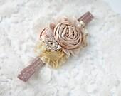 Gingerbread Glam -- tan brown gold metallic rosette  fall christmas headband bow