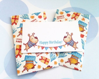 Birthday Mini Cards, Gift Enclosure Card, Mini Cards and Envelopes, Children's Card, Set of 10