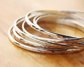 Thin, hammered, sterling silver bangle- thin bangle- hammered bangle- silver bangle