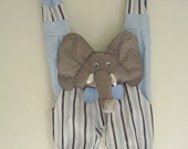 elephant pajama case,boys animal pajama holder,blue stripe elephant nightwear case,felt,acrobat, elephant pyjama holder,handmade by FRALINE