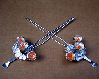 Vintage Japanese kanzashi hairpin set geisha hair pin hair pick hair fork hair comb headpiece headdress (AAL)