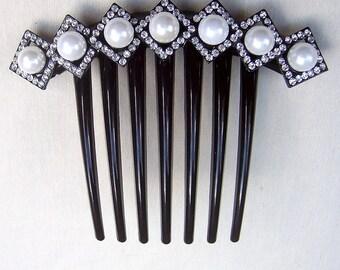Vintage French Twist comb rhinestone hair accessory hair jewelry decorative comb headpiece headdress (AAH)