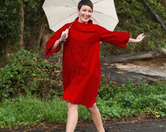 Wrapped In Royal Red Kisses - Vintage 1950s Red Velvet Swing Coat w/Fold Over Collar