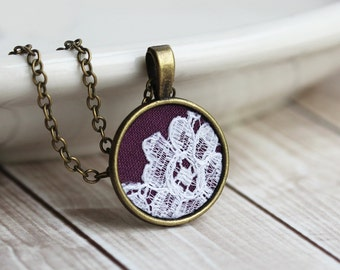 Purple Necklace, Tiny Pendant, Lace Jewelry, Gold, Boho Bridesmaid, Small, Cute