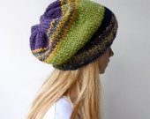 Multi colour slouch Beanie Knit hat Colourful Slouch Hat Green Beanie Colorful beanies Purple Beanie Greenery