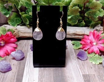 Rose Quartz Earrings - Gemstone Earrings - Pink Earrings
