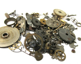 Watch Parts VINTAGE Watch Parts STEAMPUNK 10 Grams of Mechanical Movements Gears Plates Watch Gears Jewels Watch Jewelry Art Supplies (N71)