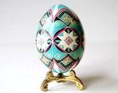 Turquoise Pysanka, batik egg on chicken egg shell, Ukrainian Easter egg, hand painted egg