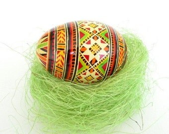 Pysanka Ukrainian Easter egg, batik decorated chicken egg shell