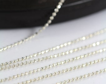 Ball Chain Diamond Cut 925 Sterling Silver, Necklace Chain 1 mm 10, 30, 50 or 100 Feet - Wholesale 35% Off SS008