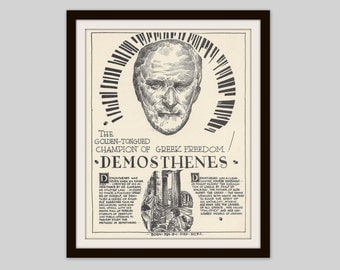 Demosthenes, Vintage Art Print, Classroom Art, History Lovers Gift, Political Science, Political History, Ancient History, Ancient Greece