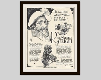 Sir Walter Raleigh, Vintage Art Print, Classroom Art, History Teacher Gift, Educational Art, Famous Explorer, World History, History Buff