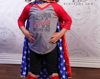 Girl Power Shirt, She Needed A SUPERHERO So She Became One, Name Headband, Infant, Toddler, Tween, Red, Grey, Sporty, Raglan Tee, 3/4 Sleeve
