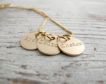 Personalized Gold Mother's Necklace, Family Jewelry, Grandmother's Necklace, Kids Names Necklace, Grandchildren, Mother's Day Gift