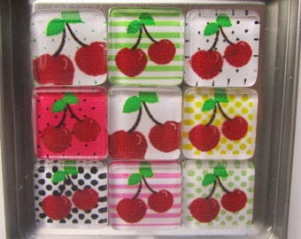 Cherries Refrigerator Magnets, Set of 9 Fridge Magnets