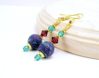 Crystal and Clay Dangle Earrings, Blues and Amethyst, Polymer Clay Jewelry