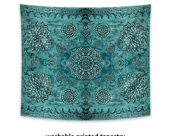 Printed Wall Tapestry, Bohemian decor, boho tapestry, hippie wall decor, beach spread, teal decor, bohemian tapestry, teal tapestry