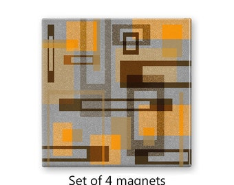 Modern magnet set, geometric refrigerator magnets, abstract fridge magnets, set of 4 decorative magnets, gray kitchen decor, large magnets