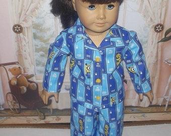 "minions 2 piece cotton pajamas fits 18"" American girl dolls"