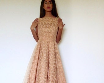 50s Peachy Lace Overlay Poofy Pin Up Formal Dress xxs xs