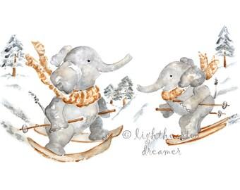 Elephant Skiing, Baby Boy Nursery, ski art, Winter, Elephant Nursery, Print, Custom baby gift, Elephant Print, Sports Nursery