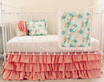 Peony Blossoms watercolor floral bumperless crib bedding set, Mint Floral nursery, girl baby bedding, peach and mint ruffle crib bedding