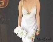 Prairie Wedding Dress, OOAK Design, Beach Wedding, Country Wedding, Tea Dyed, Simple, Natural,