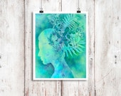 Digital illustration 8x10 inch 'Botanica' female profile, silhouette, turquoise, plants, nature, ethereal