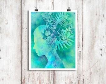 Digital illustration 8x10 inch, nature portrait 'Botanica' female profile, silhouette, turquoise, foliage, ethereal