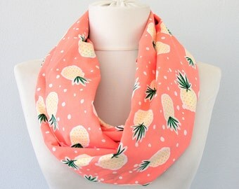 Pineapple scarf infinity scarf summer scarf tropical print scarf circle scarf cotton scarf loop scarf women gift idea for her birthday gift