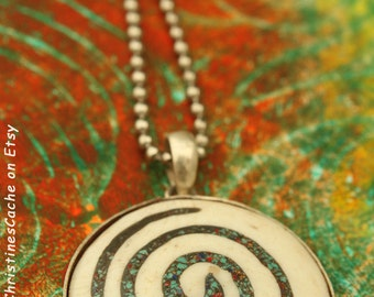 Large Bone Spiral Pendant in Silver Bezel  - Symbol of the life force energy -Primitive Tribal Pagan Jewelry 1-SS-L