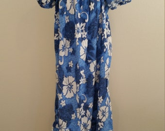 1970s Hawaiian Print Dress, Long/Maxi, Blue and White Print, Size XXL, #59389