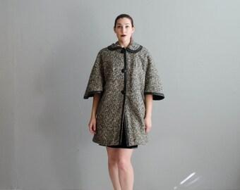 Vintage 1960s Cape Coat - 60s Tweed Jacket - Metropolitan Tweed Coat