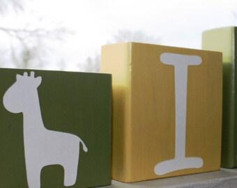 PERSONALIZED LETTER BLOCKS - Baby Shower Centerpiece - Jungle Giraffe Monkey Boy Name - Safari Nursery Decorations Sign