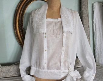 Antique Edwardian Fine Semi Sheer Blouse With Embroidery, Lace, and Drawn Work