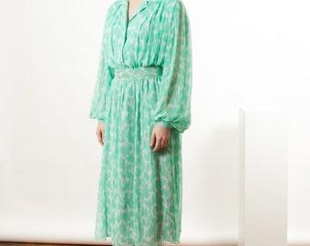 Tropical Midi Dress / Abstract Chiffon Dress / Long Sleeve Graphic Dress