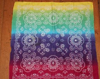 Vintage Rainbow color  Bandana Scarf 100% cotton RN 13962 Elephant logo