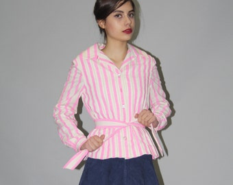 1950s Pink and White Striped Designer Anne Fogarty Belted Cotton Jacket  - Vintage 50s Jackets - 50s Designer Jacket  - WO0642