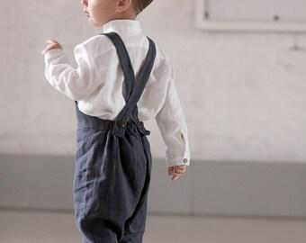 Harem Pants with suspender Boy romper Unisex kids Harem jumpsuit First birthday Ring bearer outfit Dark gray