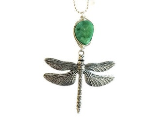 Dragonfly necklace, dragonfly and green druzy pendant necklace
