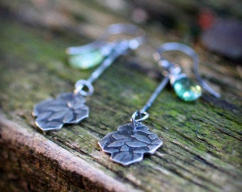 Secret Garden Earrings #4 - Green Kyanite and Recycled Sterling Silver - Charitable Benefiting Adults with Developmental Disabilities