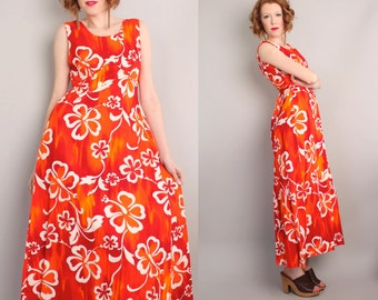 Vintage Hawaiian Maxi Dress / Bright Red Hibiscus / Long /