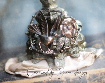 Song Bird ~ vintage assemblage bracelet one of a kind floral garden bird whimsical antique crowned by grace