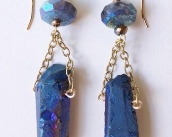 Faceted Labradorite Dangle Earrings, Large Labradorite Earrings, Blue Trapeze Earrings, Blue Quartz Point Drops, Boho Dangle Earrings