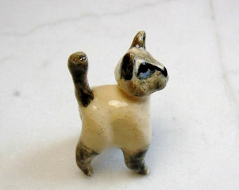Lilac Point Siamese Kitten Miniature - Siamese Cat Figurine  - Terrarium Miniature Cat - Kitten Figurine - Pottery Animal