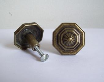 Vintage metal drawer pull knob octagonal 2 available
