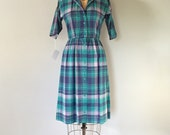 1970s aqua plaid dress | cotton button up day dress