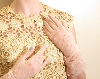 Vintage 1950s Sheer Pink Party Gloves / 50s Gloves in Baby Pink Eyelet Nylon