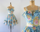 RESERVED   1970s Sweet Bliss floral sweetheart dress / 70s summer love